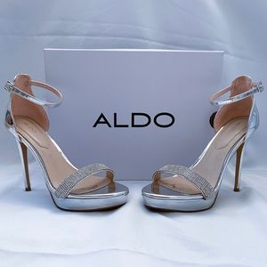 Silver rhinestone Aldo Heels 8.5